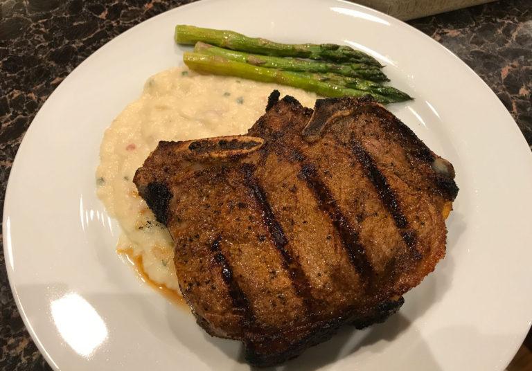 Bone in New York Strip seasoned with my West Texas steak rub